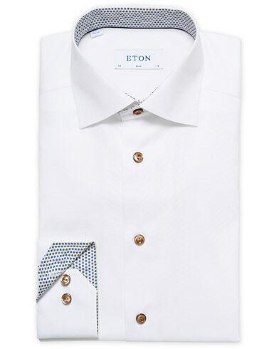 Eton Slim Fit Contrast Cut Away Shirt White