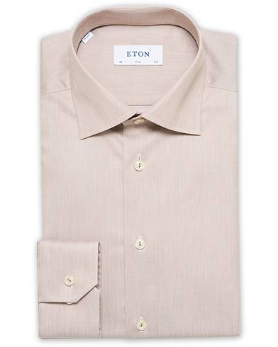 Eton Slim Fit Cotton Cut Away Shirt Brown