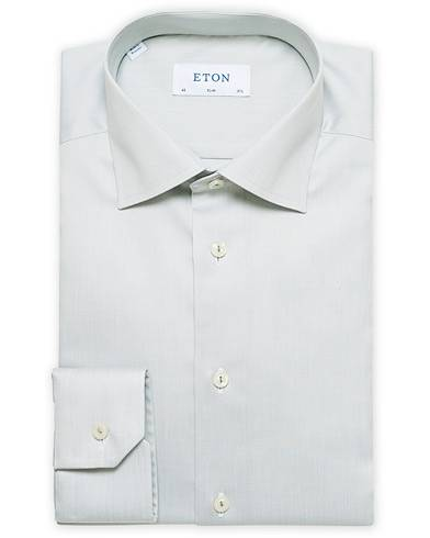 Eton Slim Fit Cotton Cut Away Shirt Green