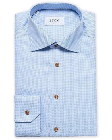 Eton Slim Fit Mini Houndstooth Cut Away Shirt Blue