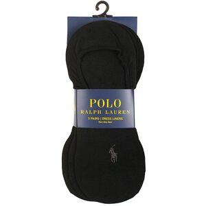 Polo Ralph Lauren 3-Pack No Show Dress Liners Pony Socks Black