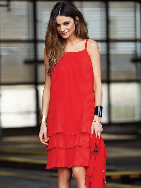 Imitz Party-klänning, röd (Stl: 36, 38, 40, 42, 44, )