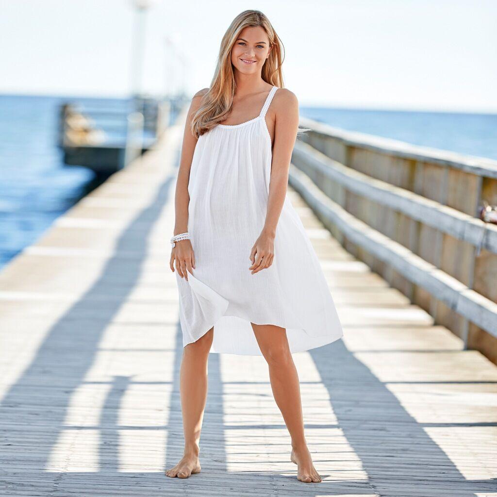 Cotonel Strandklänning, vit (Stl: M, L, XL, )