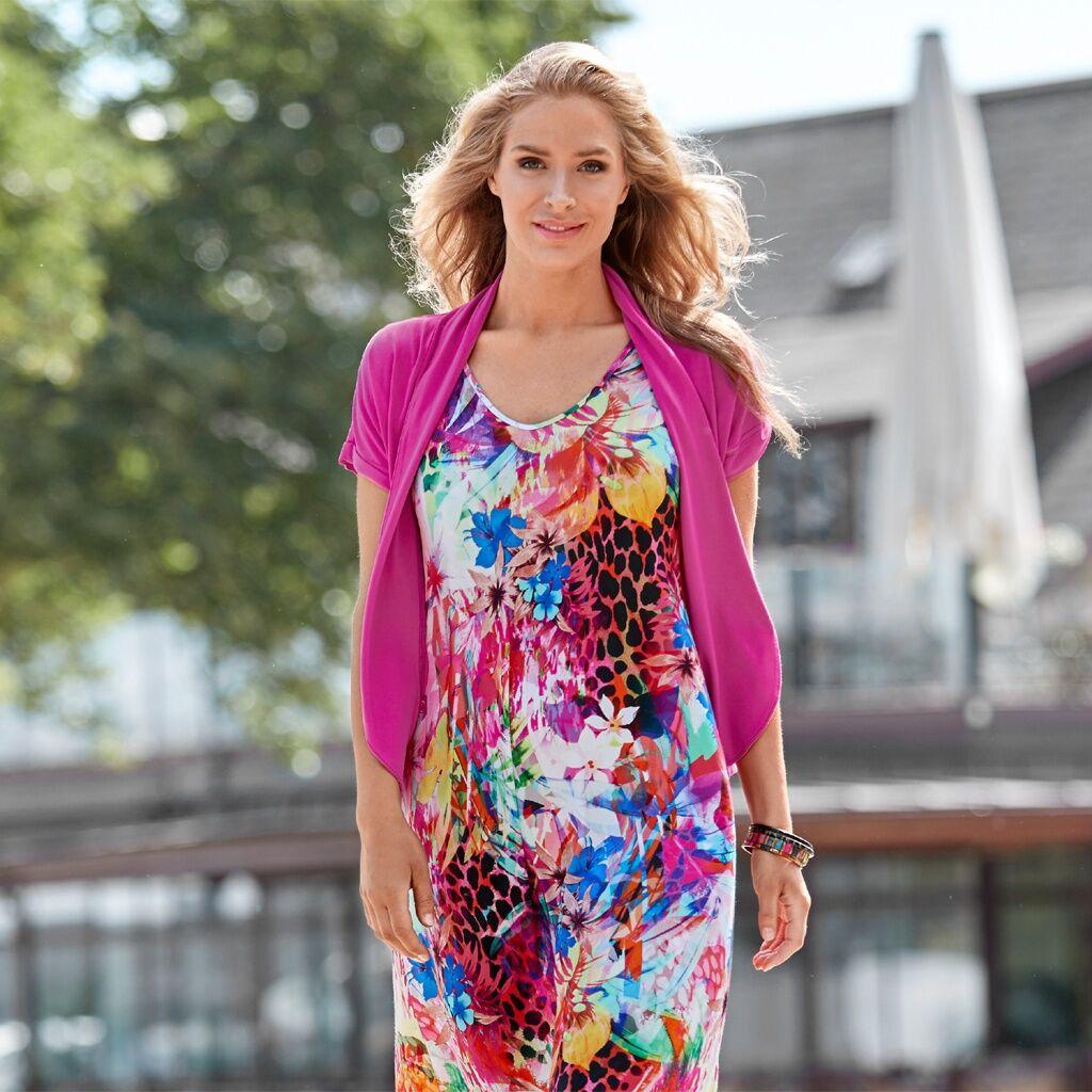 Cotonel-klänning i läckra färger, cerise (Stl: M, L, )