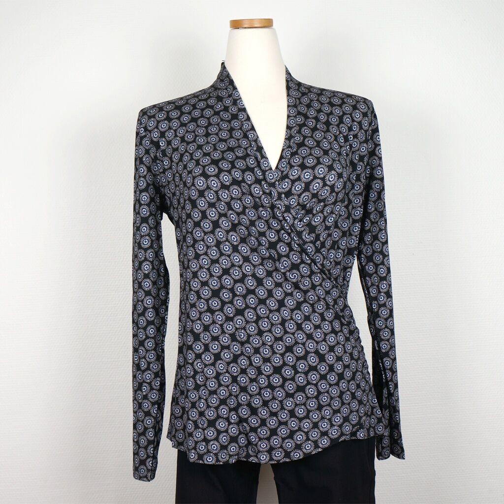 Cotonel Draperad top, blå-svart. Cotonel (Stl: M, L, XL, XXL, )