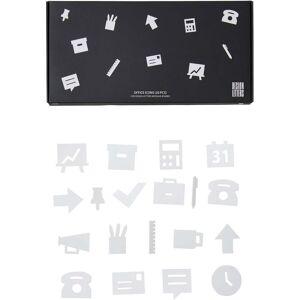 Design Letters Kontorsikoner för Anslagstavla 20 pcs, Vit