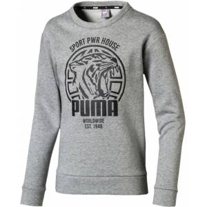 Puma Alpha Graphic Crew Tröja, Medium Grey Hea 140