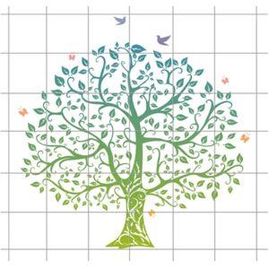 Blå- Grönt träd Kakeldekor 36 delar