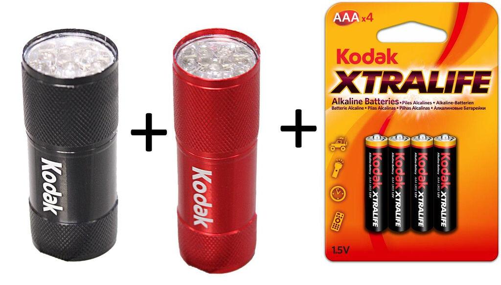 Kodak 10st AAA Batterier + 2-pack Ficklampa med 9st LED