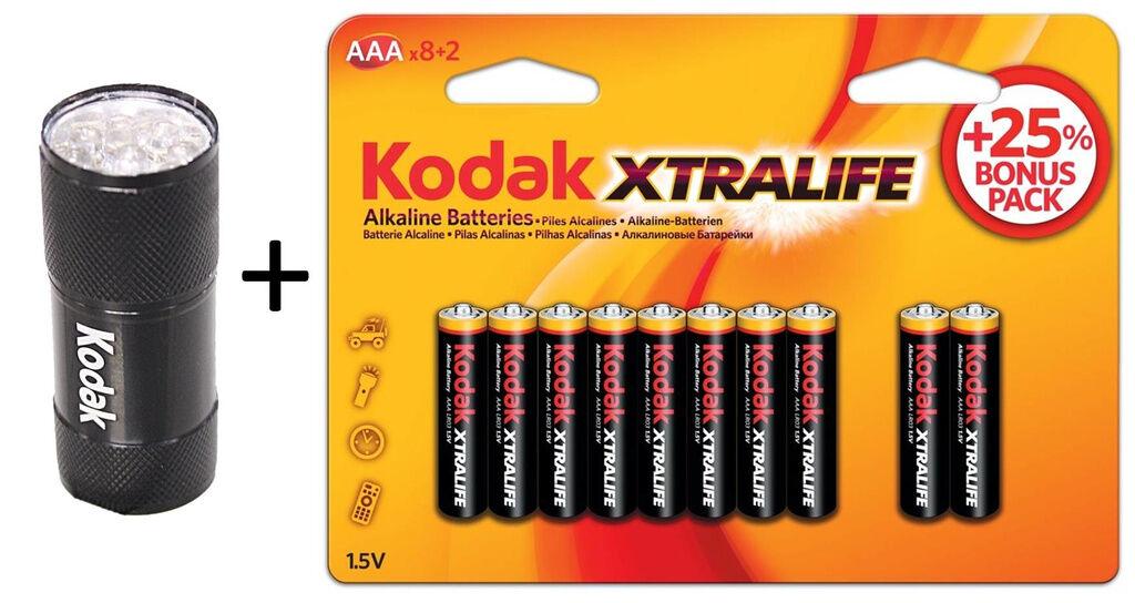 Kodak 10-pack AAA Batterier + Ficklampa 9st LED