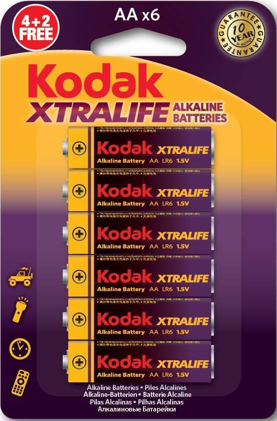 Kodak AAA Batteri 6-pack ,LR03 Kodak Xtralife Alkaline Alkaliskt 1.5V
