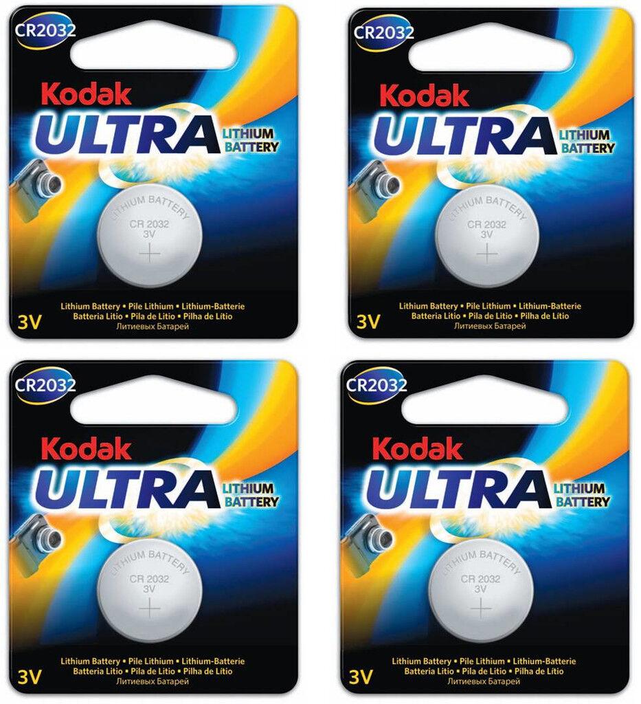 Kodak Batteri CR2032 4-pack Knappcell Kodak Ultra , 3V Litium Batteri