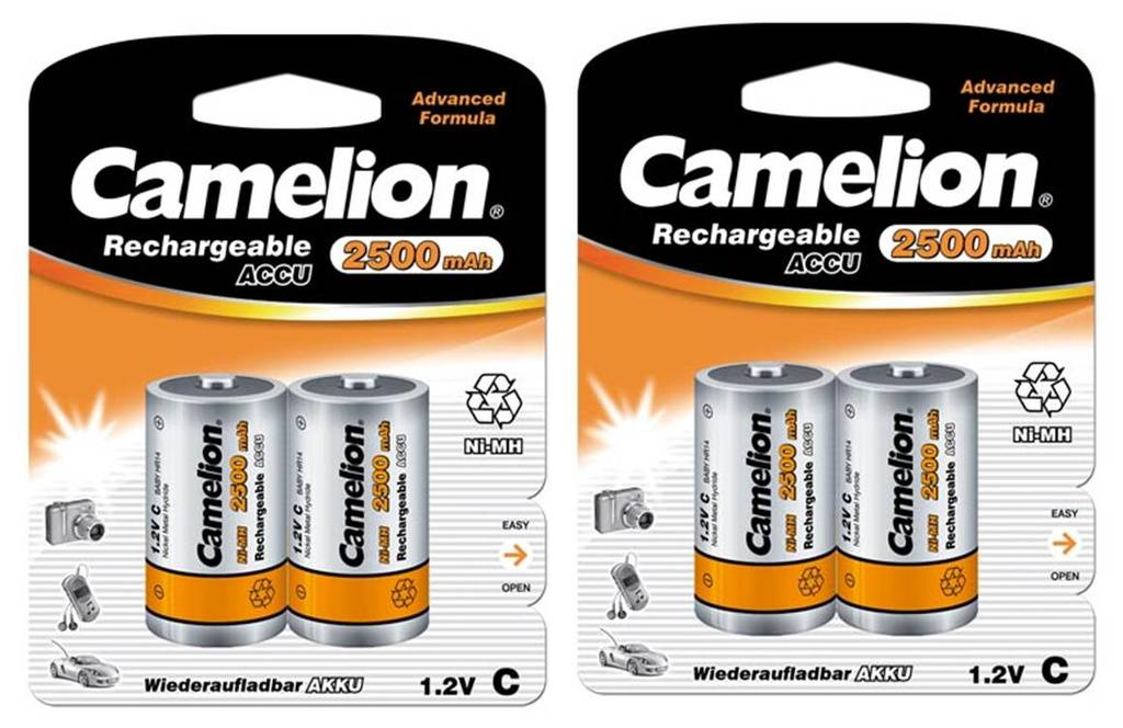 Kodak Camelion 4st laddningsbara batterier C NiMH 2500mAh