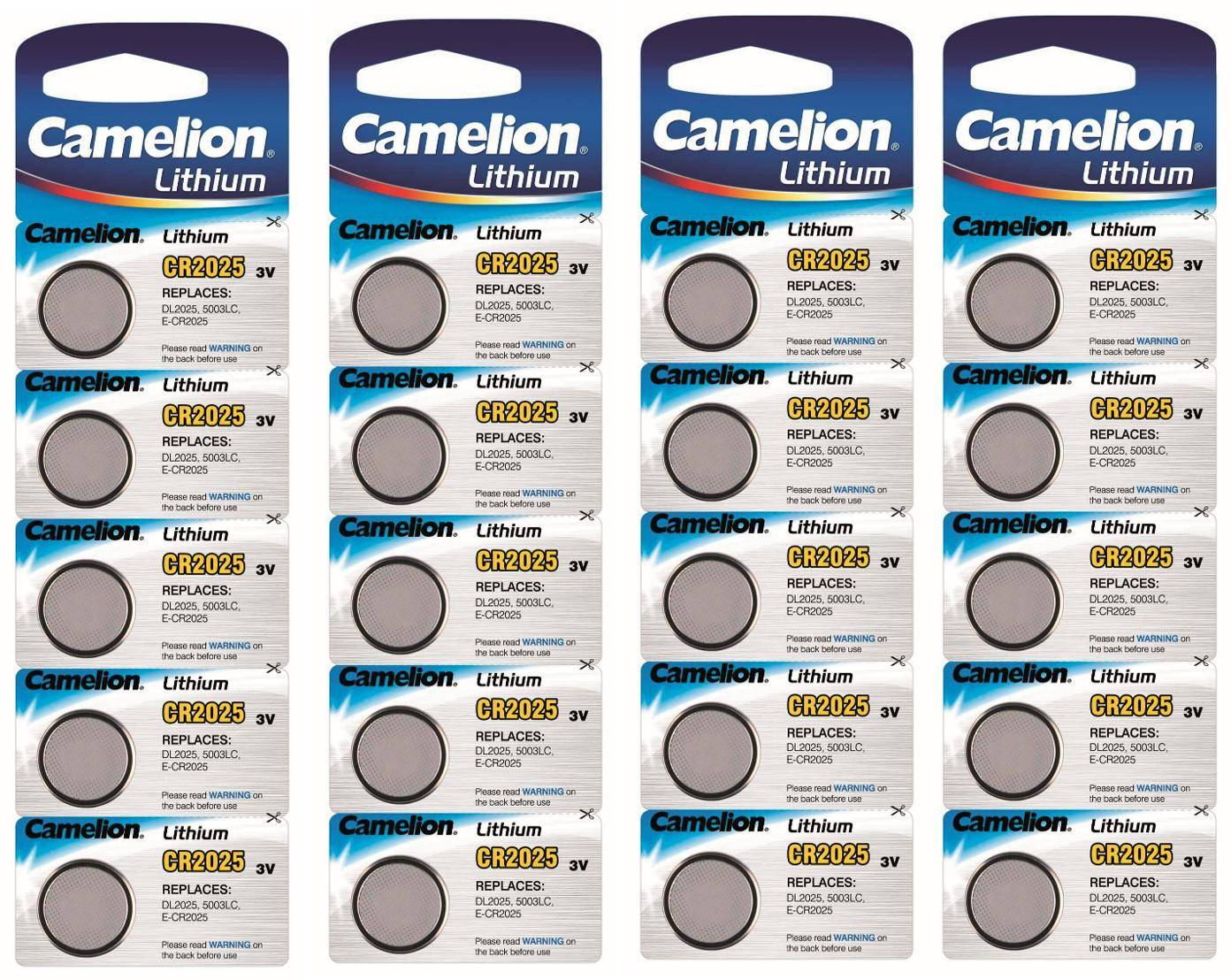 Camelion CR2025 20-pack Lithium batterier CR 2025 3V knappcell