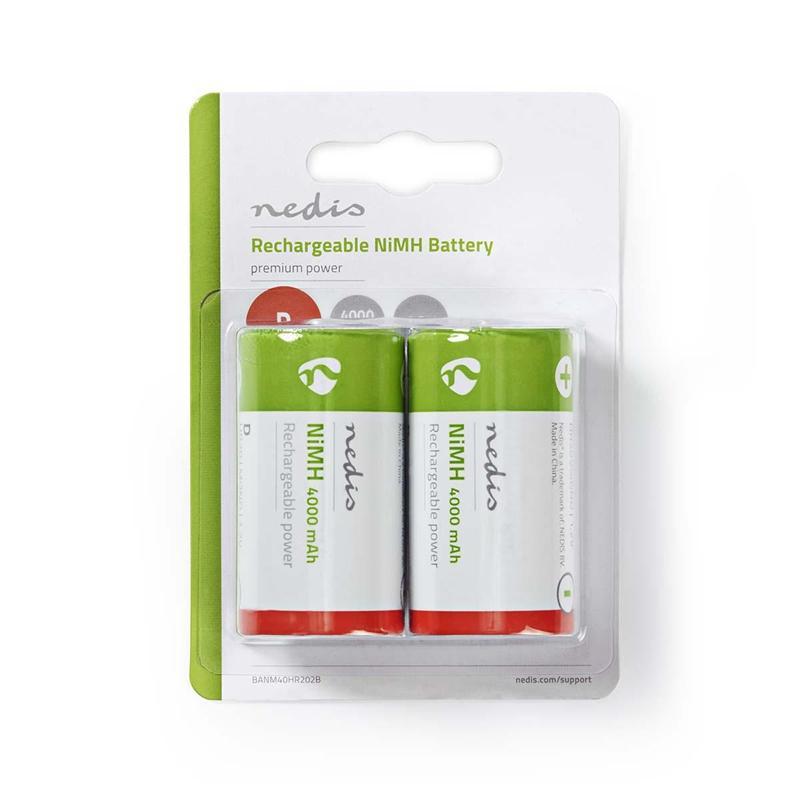 Nedis Uppladdningsbart Ni-MH-batteri D   1.2 V   4 000 mAh   2 delar