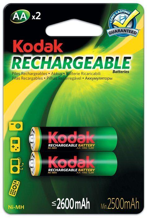 Kodak 2-pack AA  laddningsbara batterier, 2600 mAh, Kodak NiMH