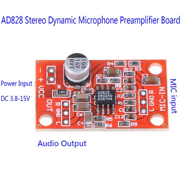 Unbranded Ad828 stereo dynamic microphone preamplifier board mic preamp dc