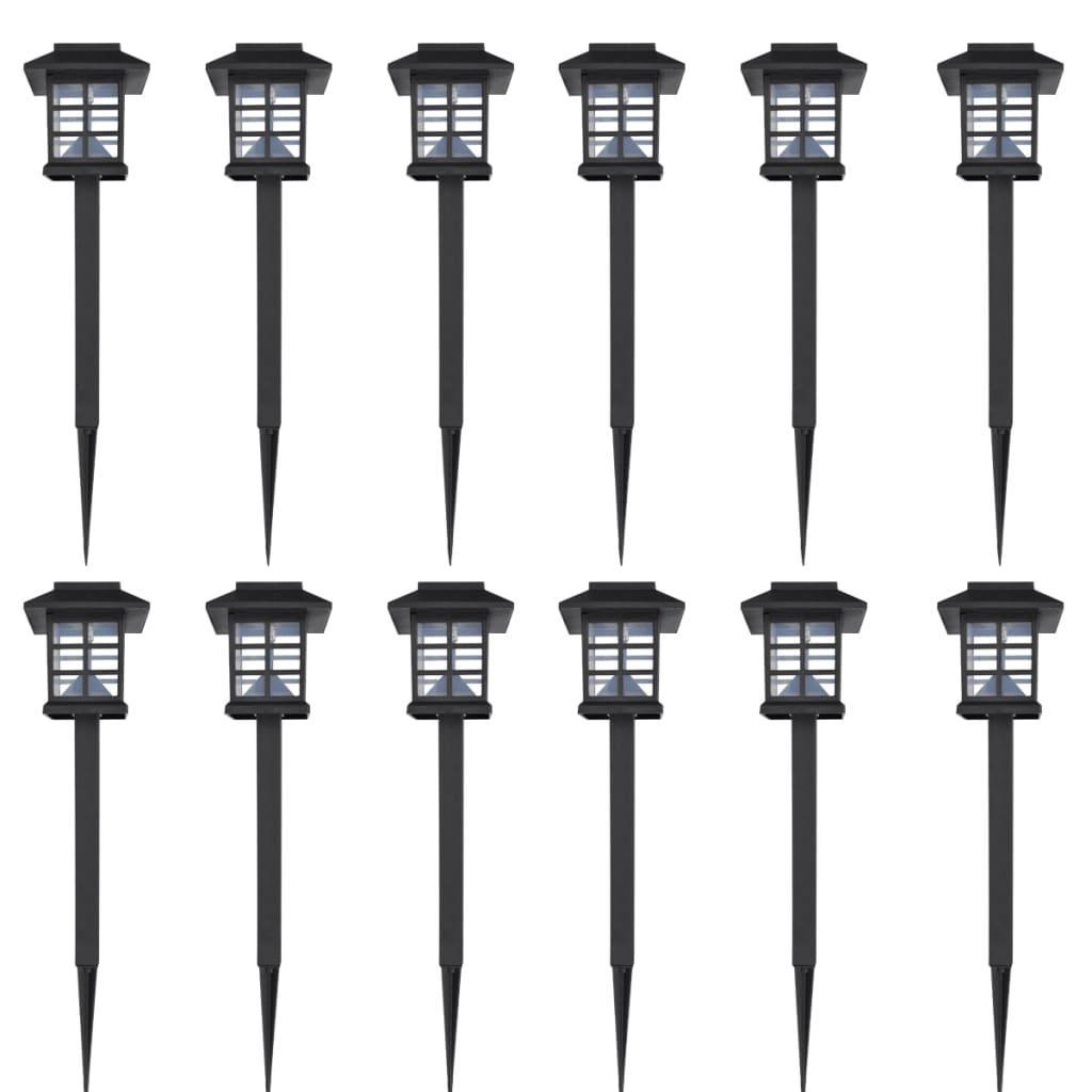 vidaXL Soldrivna marklampor LED 12 st med spett 8,6 x 8,6 x 38 c
