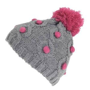 Unbranded Childrens/kids knit winter bobble detail hat grey utha605