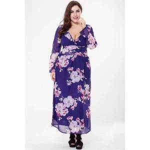 Plusstorlek Chiffongtryckt V-ringad T-klänning Med Chiffong Purple Xl