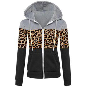 No name Kvinnors Xmas Plain Fashion Hoodie Zip Up Fleecejacka Leopard Yellow S