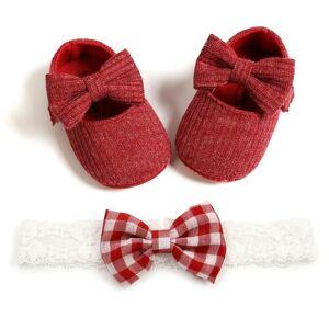 Unbranded Spädbarn Flickaskor Nyfödda Småbarn Mjuk Sula Babyskor Röd 0-6 Månader