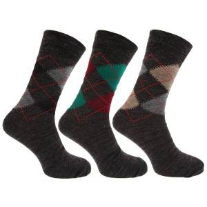 Unbranded Mens traditional argyle pattern lambs wool blend socks with lycr