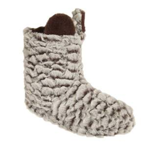Unbranded Womens/ladies plush striped boot slippers with animal ears white