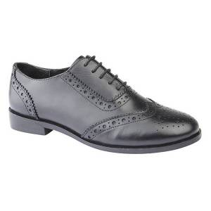 Unbranded Cipriata womens/ladies violetta leather brogue oxford shoes blac