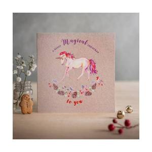 Unbranded Deckled edge christmas card a merry magical christmas to you - u