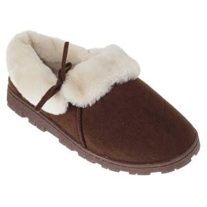 Unbranded Slumberzzz womens/ladies fleece lined slippers with rubber sole