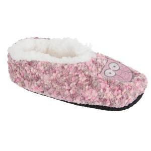 Unbranded Slumberzzz womens/ladies animal microbobble fluffy slippers pink