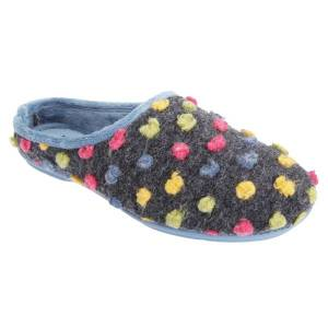Unbranded Sleepers womens/ladies amy spotted knit mule slippers blue/multi