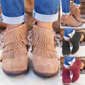 Unbranded New fashion tiered tassel women ankle boots