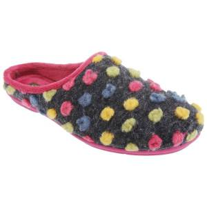 Unbranded Sleepers womens/ladies amy spotted knit mule slippers fuchsia/mu