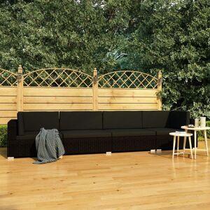 vidaXL Soffgrupp för trädgård med dynor 4 delar konstrotting sva