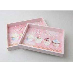 Unbranded Cupcake wood serving trays pink