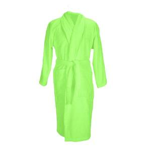 Unbranded A&r towels adults unisex bath robe with shawl collar lime green