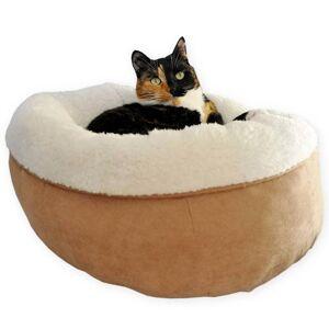 afp Hund-/kattsäng lammull donutformad brun