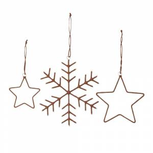 House Doctor Snowflakes And Stars Julpynt, Brun