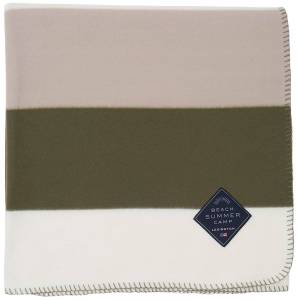 Lexington Block Striped Fleece Pläd 130x170 cm, Grön/Vit