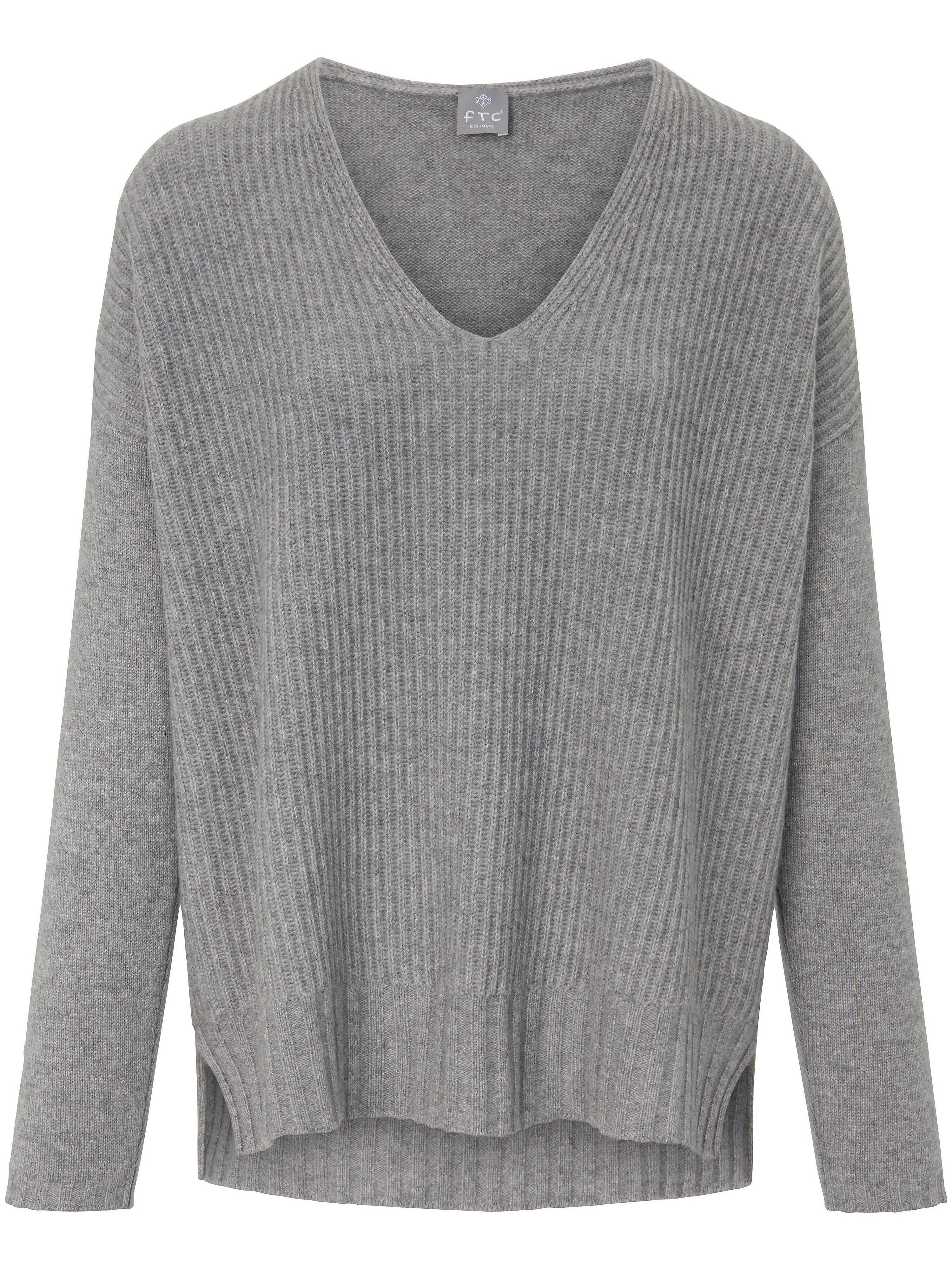 FTC Cashmere V-ringad tröja i 100% kashmir från FTC Cashmere grå