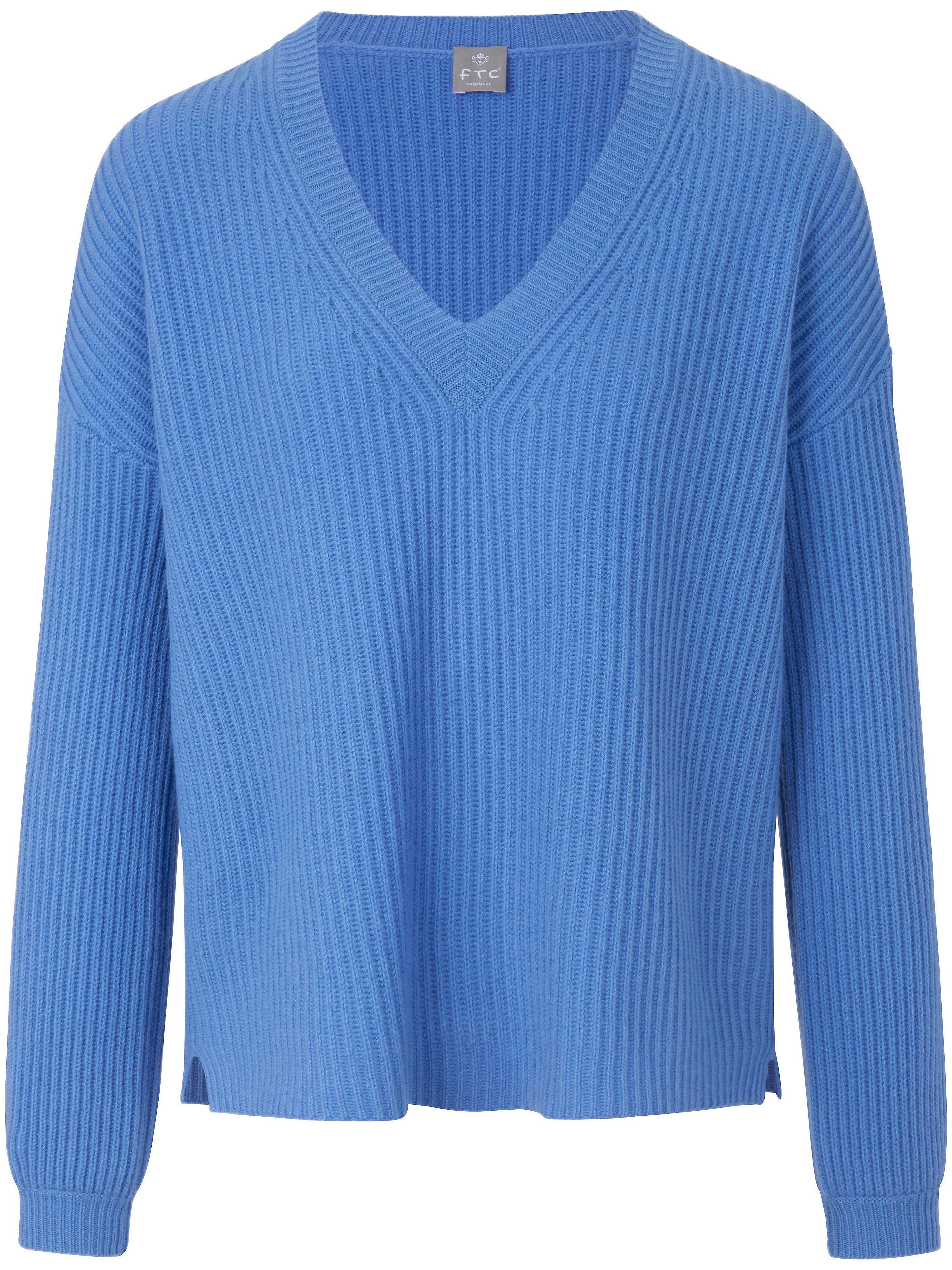 FTC Cashmere V-ringad tröja i 100% kashmir från FTC Cashmere blå