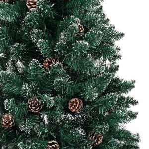 vidaXL Smal plastgran med äkta trä och kottar vit snö grön 210 cm