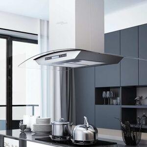 vidaXL Köksfläkt med LCD för köksö 90 cm 756 m³/tim LED