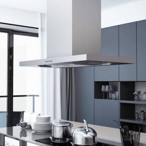 vidaXL Köksfläkt för köksö 90 cm rostfritt stål 756 m³/tim LED