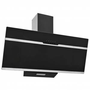 vidaXL Köksfläkt 90 cm rostfritt stål och härdat glas svart