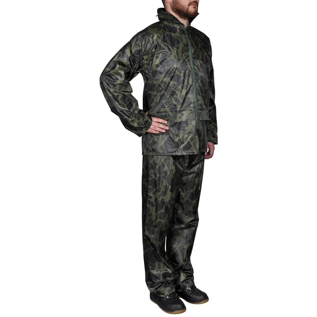 vidaXL Regnställ med Huva Herrar Tvådelat Camouflage L