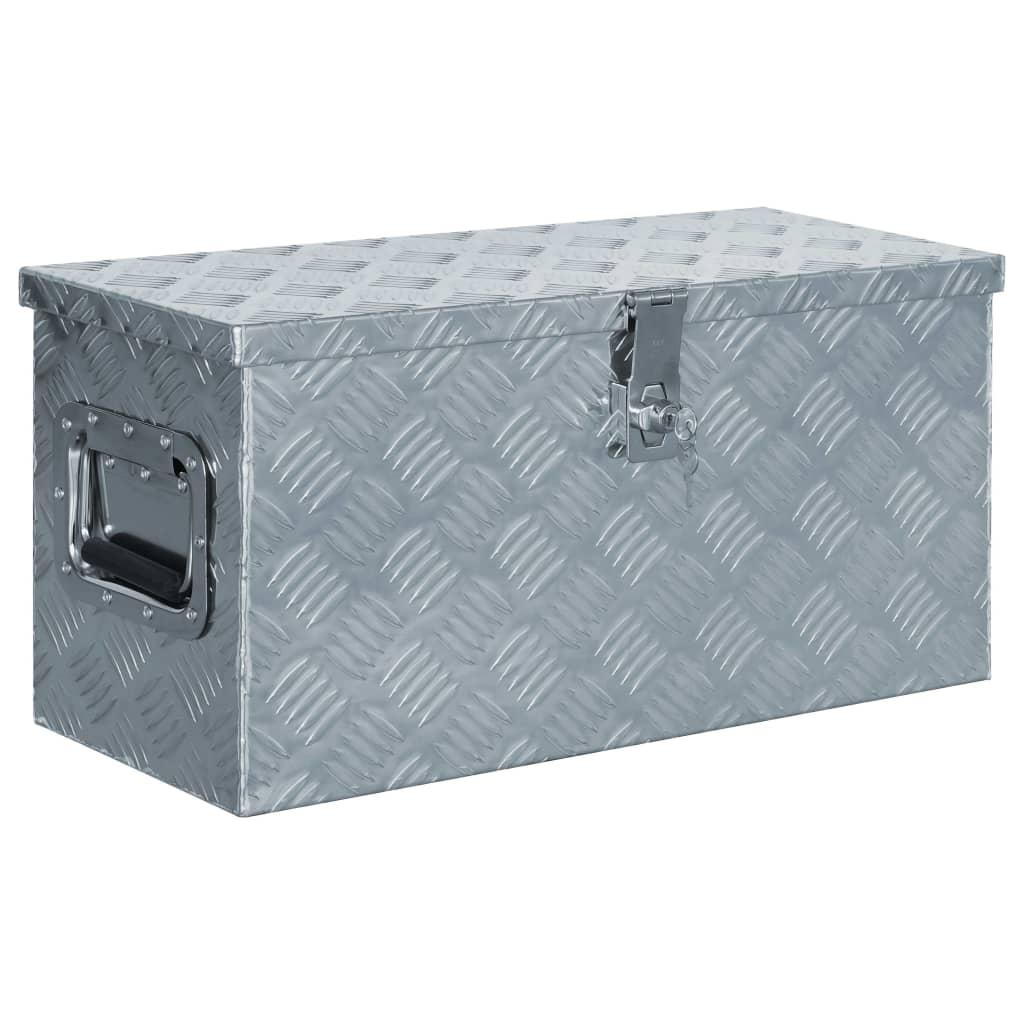 vidaXL Förvaringslåda aluminium 61,5x26,5x30 cm silver