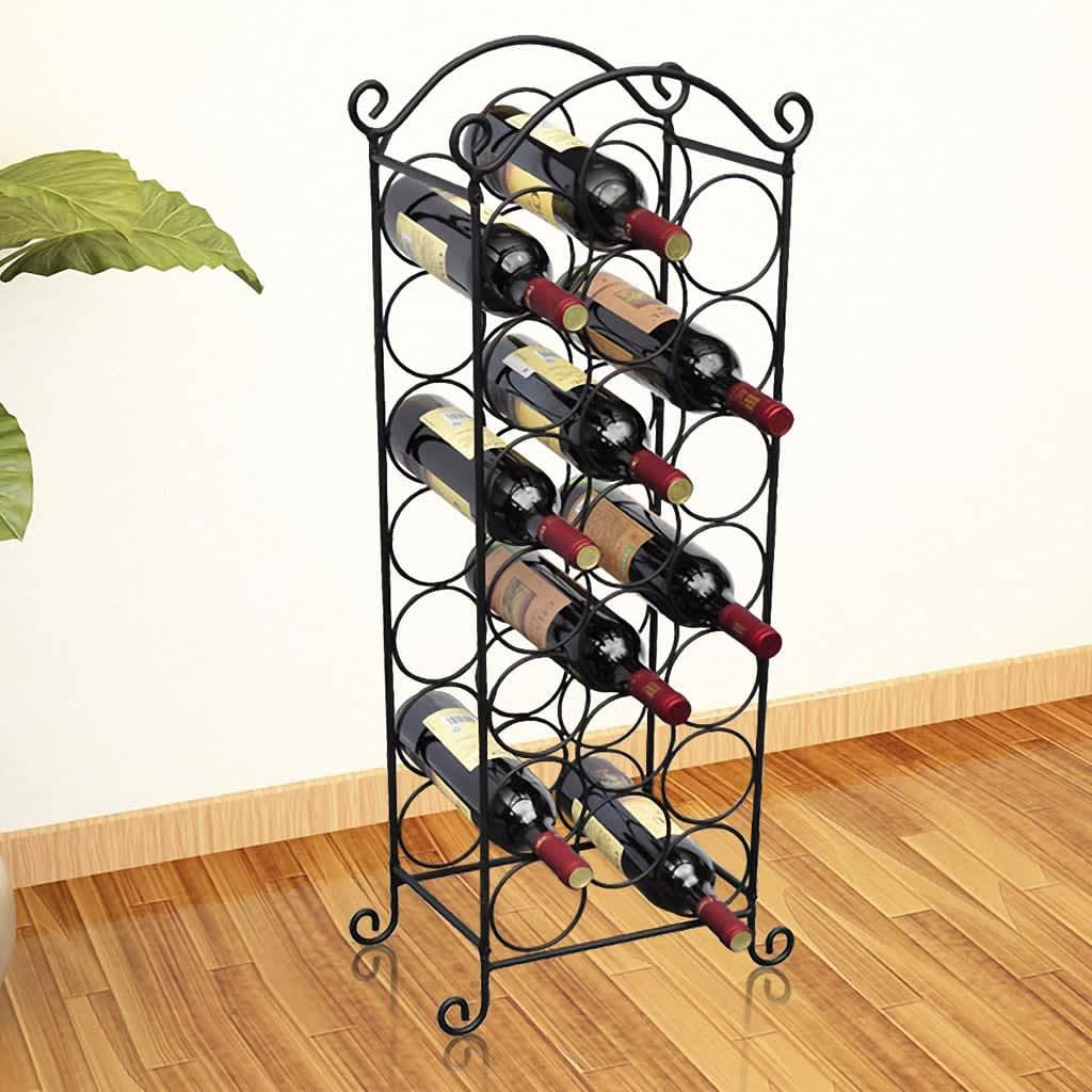 vidaXL Vinställ för 21 flaskor metall